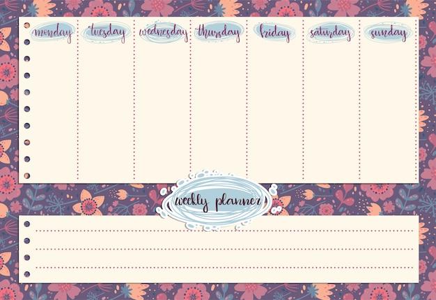 Planejador semanal bonito com padrão de flores e folhas