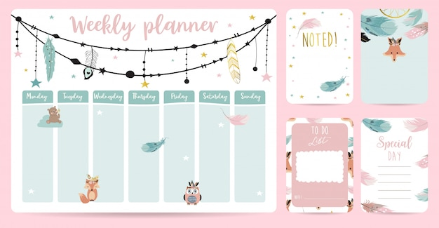 Planejador semanal bonito no estilo boho