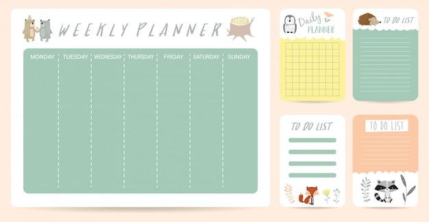 Planejador semanal bonito para criança com urso
