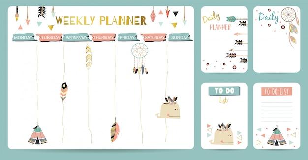 Planejador semanal bonito para criança