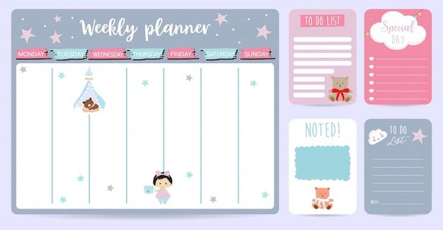 Planejador semanal bonito para crianças