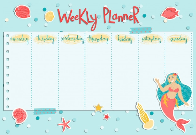 Planejador semanal colorido com uma sereia, algas, peixes e conchas.