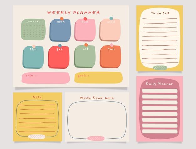 Planejador semanal colorido