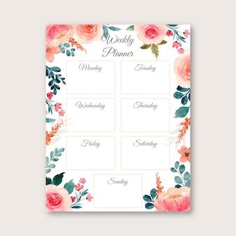 Planejador semanal com aquarela de flores rosa