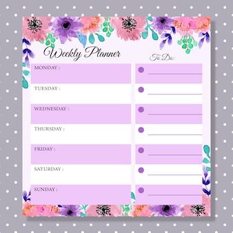 Planejador semanal com aquarela floral roxo