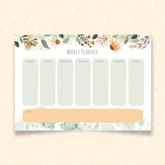 Planejador semanal com aquarela floral verde amarela