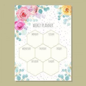 Planejador semanal com aquarela floral