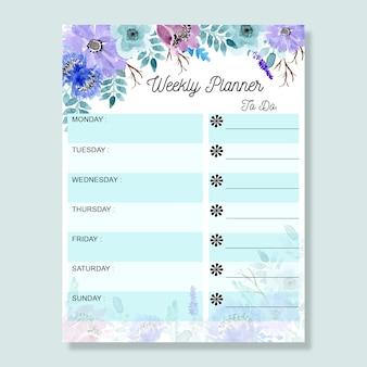Planejador semanal com azul suave aquarela floral