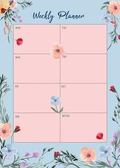 Planejador semanal com bela aquarela floral
