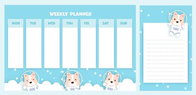 Planejador semanal com cachorro corgi bonito.