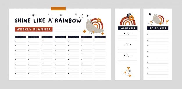 Planejador semanal com caracol bonitinho e arco-íris e elementos de mão desenhada. lista de desejos, lista de afazeres