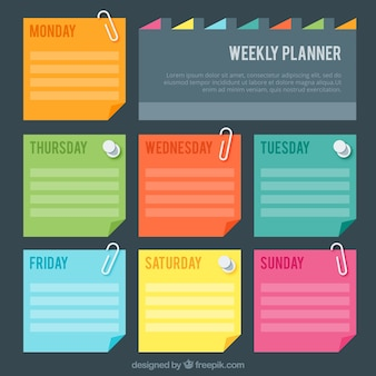Planejador semanal com colores de post-it