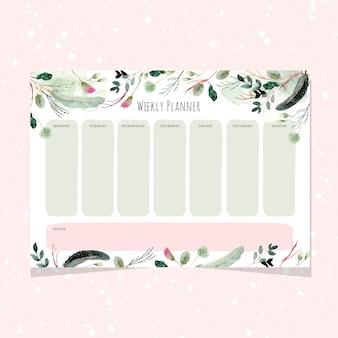 Planejador semanal com fundo aquarela floral e folhagem