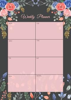 Planejador semanal com fundo aquarela muito floral