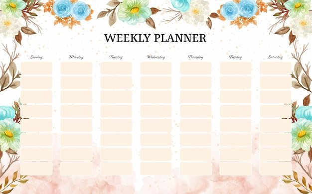 Planejador semanal com fundo de flores de outono