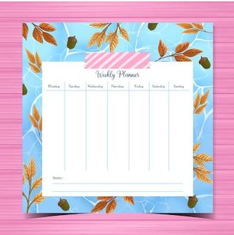Planejador semanal com fundo de outono