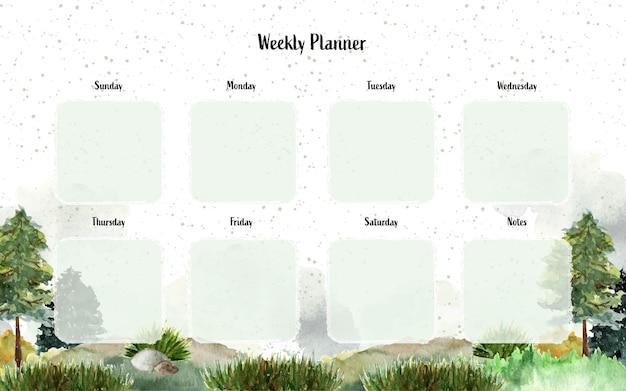 Planejador semanal com fundo de paisagem em aquarela