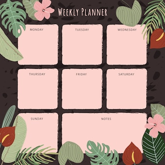 Planejador semanal com fundo de planta tropical