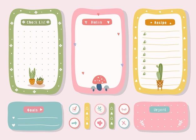 Planejador semanal com gráfico bonito do tema da planta da ilustração para registro no diário, adesivo e página de recados.