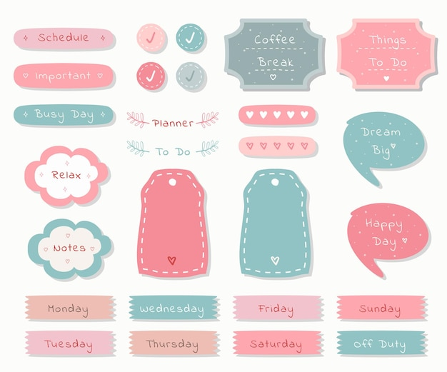 Planejador semanal com gráfico de tema pastel de ilustração fofa para registro no diário, adesivo e álbum de recortes.
