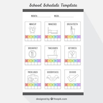 Planejador semanal com ícones em estilo plano