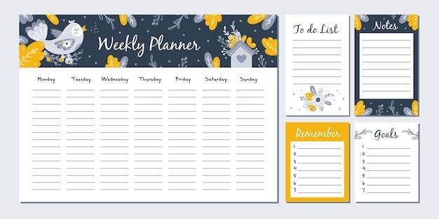 Planejador semanal com ilustração de pássaros bonitos