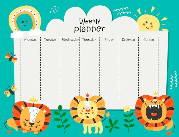 Planejador semanal com leões engraçados