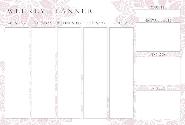 Planejador semanal com mandalas