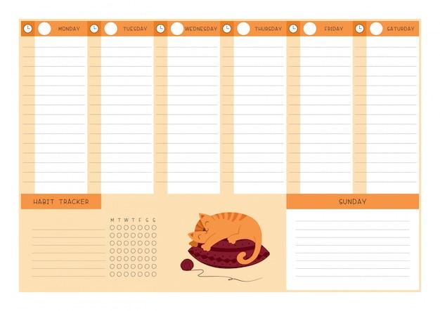 Planejador semanal com modelo de rastreador de hábitos.