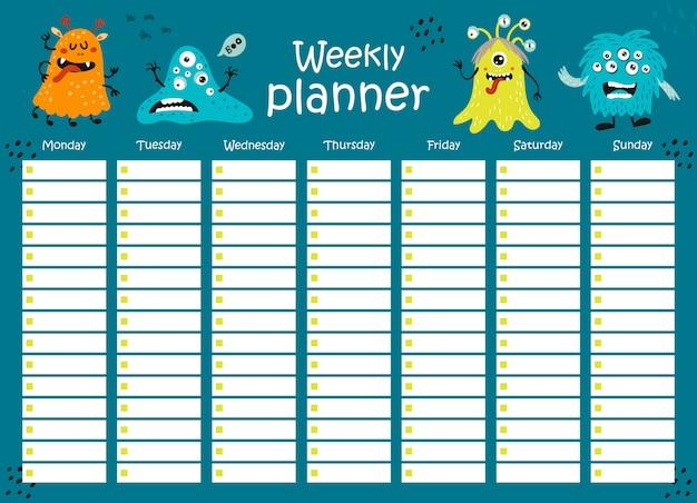 Planejador semanal com monstros