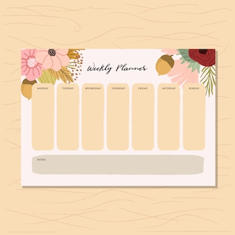Planejador semanal com outono floral