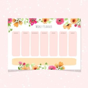 Planejador semanal com quadro de flores em aquarela