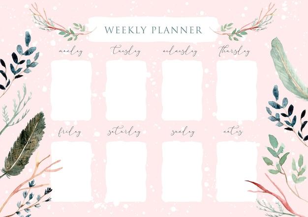 Planejador semanal com quadro de folhas e penas verdes