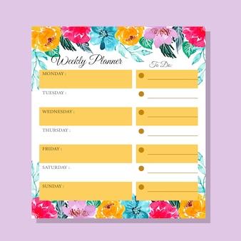Planejador semanal da flor colorida da aguarela