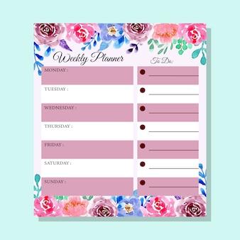 Planejador semanal da flor da aguarela