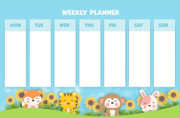 Planejador semanal de arte em papel com animais fofos.