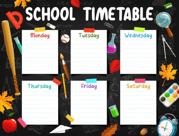 Planejador semanal de calendário escolar, quadro-negro