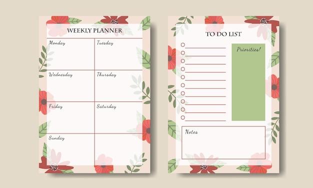 Planejador semanal de flores vintage desenhado à mão para fazer lista de modelos para impressão
