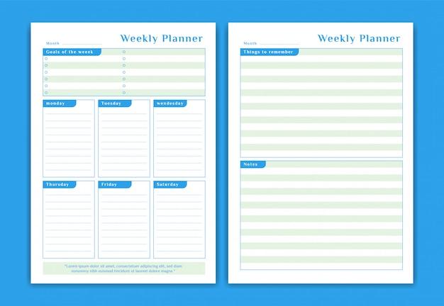 Planejador semanal de horário de segunda a sábado formato de tabela simples estilo de cor azul com objetivos semanais