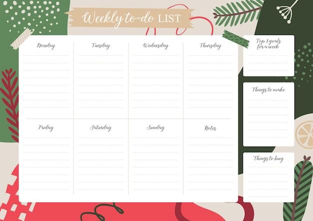 Planejador semanal de natal. modelo de lista de tarefas semanais. ilustração abstrata do vetor.