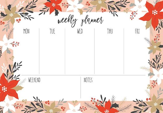 Planejador semanal de natal.