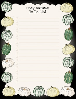 Planejador semanal de outono acolhedor e para fazer a lista com ornamento de abóboras na moda