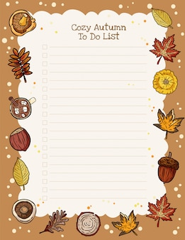Planejador semanal de outono acolhedor e para fazer a lista com ornamento de elementos da moda outono