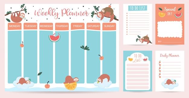 Planejador semanal de pastel com preguiça, aquarela, laranja e árvore