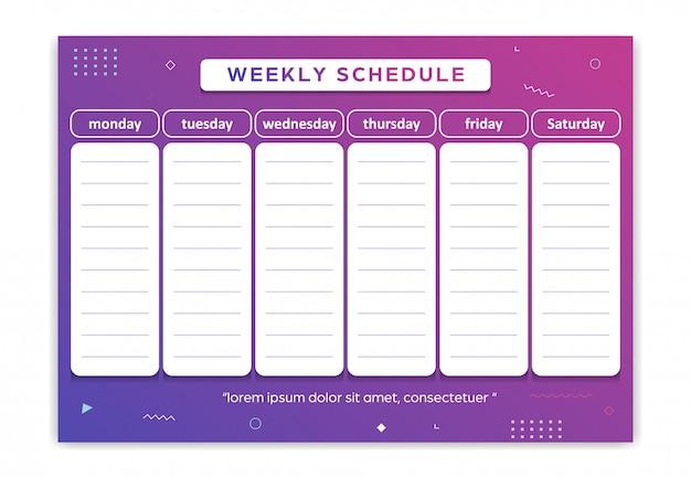 Planejador semanal de segunda a sábado gradiente geométrico