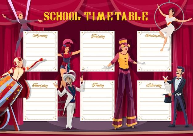 Planejador semanal do horário escolar, show de circo