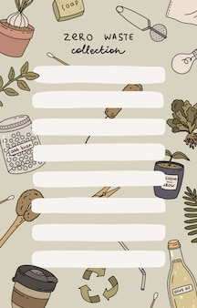 Planejador semanal e lista de tarefas com ilustrações de zero waste e letras da moda. modelo de agenda, planejadores, listas de verificação e outros artigos de papelaria para crianças.
