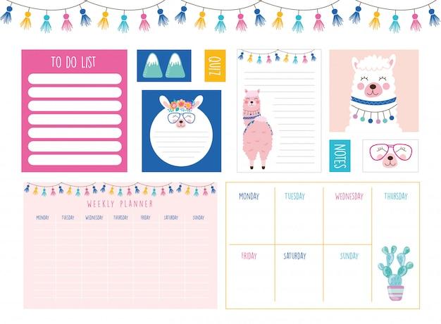 Planejador semanal e lista de tarefas