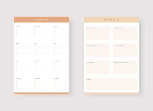 Planejador semanal e modelo de lista de aniversários conjunto de modelos de planejador moderno