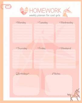 Planejador semanal feminino